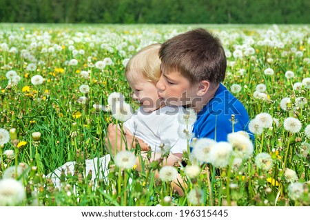two boys play on a summer meadow - stock photo