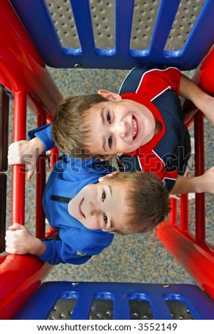 Two boys playing - stock photo