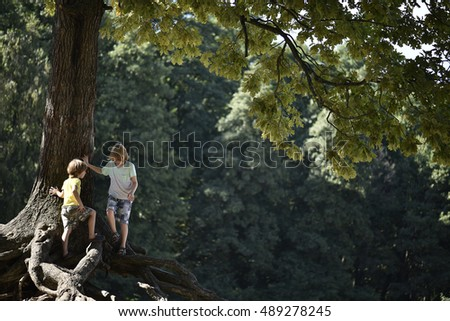 Two boys playing in the park under a tree.