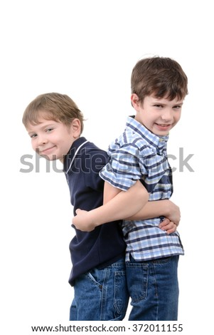 two boys playing isolated white background - stock photo