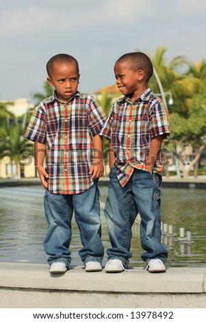 Two Boys Posing for the Camera - stock photo