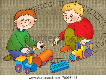 Two boys set fire to the matches, toy railroad tank cars - stock photo