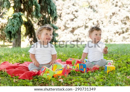 two boys twins sitting on a red blanket with toys in nature - stock photo