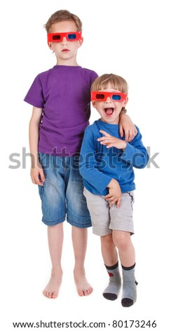 two boys wearing 3D glasses on white background - stock photo