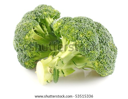 Two branches of broccoli cabbages isolated on white background - stock photo