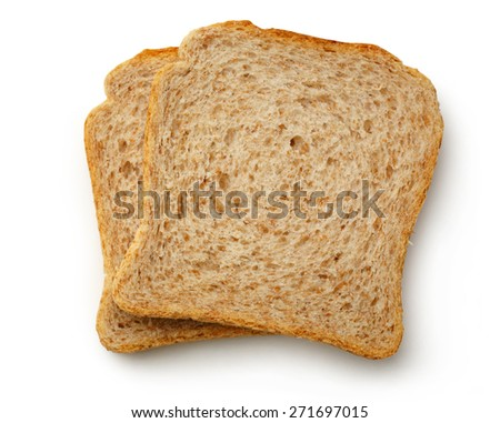 Two bread slices on the white background
