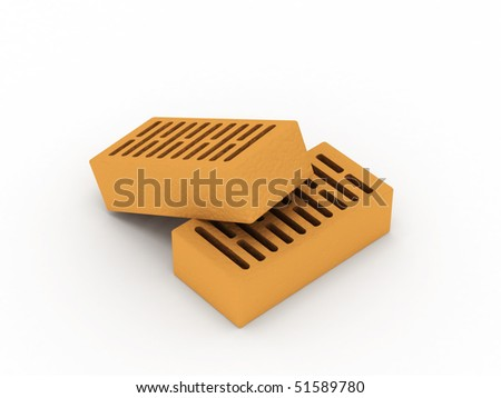 Two bricks isolated on white background. High quality 3d render.