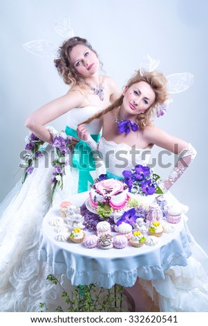 Two brides at the sweets table - stock photo