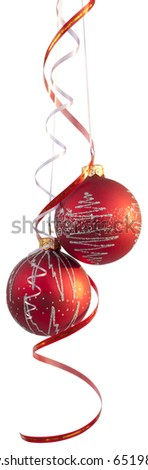 Two bright red Christmas tree balls with curly ribbons isolated on the white background - stock photo