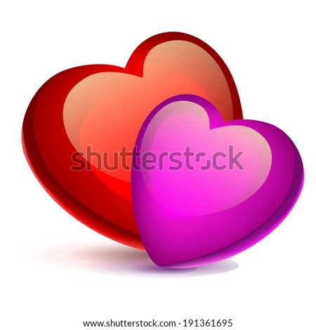 two bright red hearts on a white background - stock photo