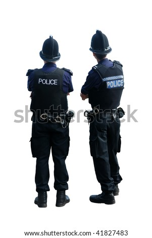 Two British police officers with their backs to the cameras, isolated on a pure white background. - stock photo