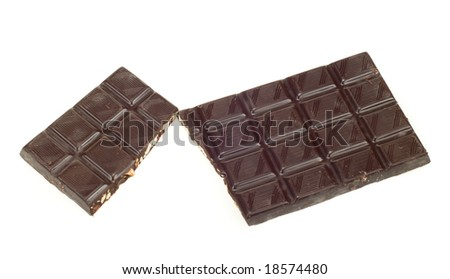 two broken pieces of dark chocolate isolated on a white background - stock photo