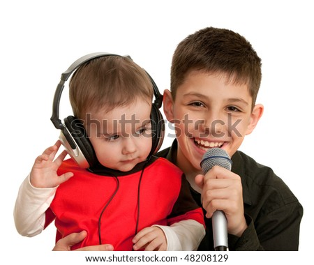 Two brothers are singing; isolated on the white background - stock photo