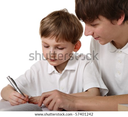 Two brothers does lessons - stock photo