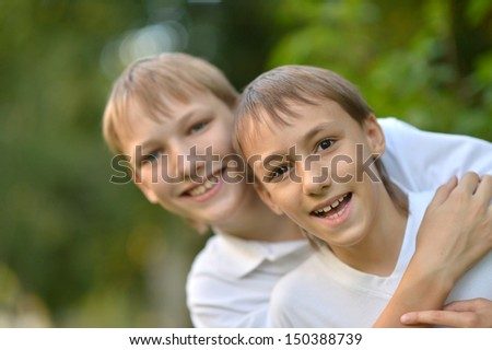 Two brothers in nature - stock photo