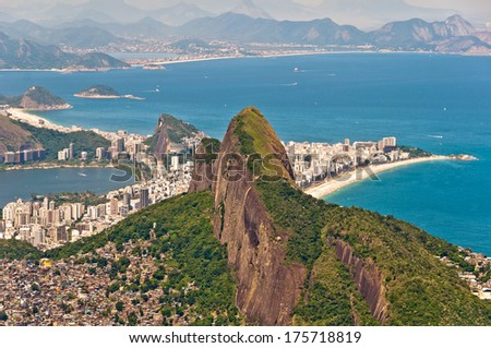 Two Brothers Mountain (Dois Irmaos) with Ipanema District and Beach behind in Rio de Janeiro, Brazil