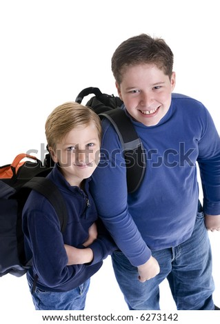 Two brothers ready for school. Bonding, friendship, togetherness, love.