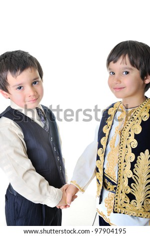 Two brothers shaking hands - stock photo