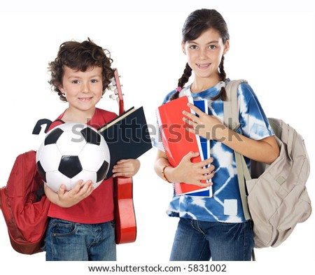 Two brothers students a over white background - stock photo