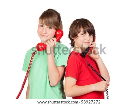 Two brothers with red telephone isolated on white background - stock photo