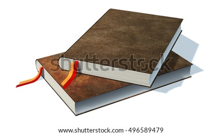 two brown books notebooks isolated on white background - 3d rendering