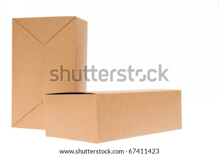 Two Brown cardboard box, Isolated on white. - stock photo