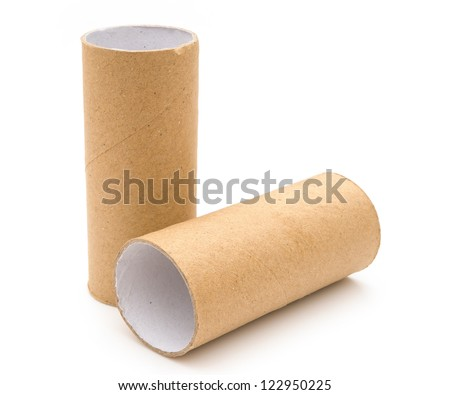 two brown empty toilet rolls on white, one stands up - stock photo