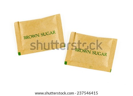 Two Brown sugar sachet isolated on white background