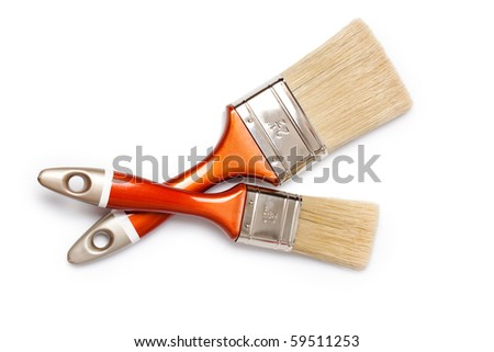 two brushes on white background - stock photo