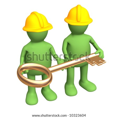Two builders - puppets, holding in hands a gold key. Objects over white - stock photo