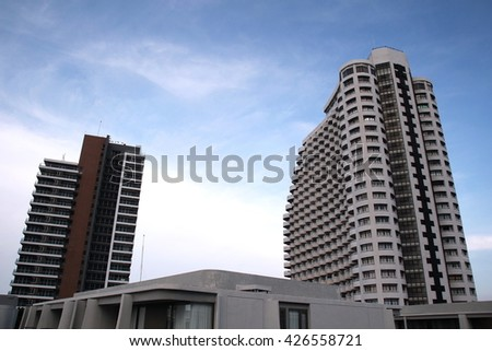 Two building with blue sky