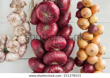 Two bunch of onion (sweet red onions and yellow onions) and bunch of garlic. - stock photo