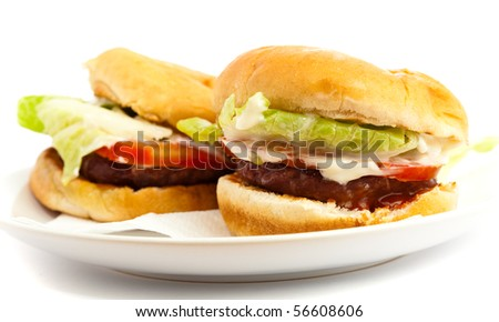 two burger isolated - stock photo