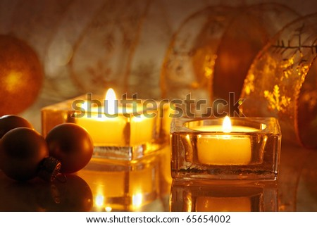 two burning candles - stock photo
