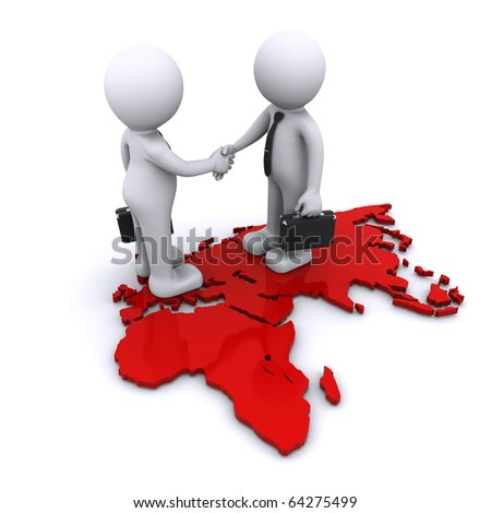 two businesmen standding on world map - stock photo