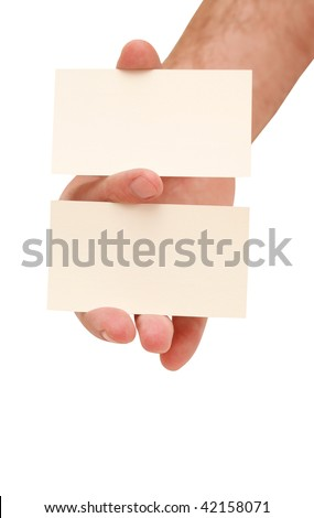 two business cards in hand - stock photo