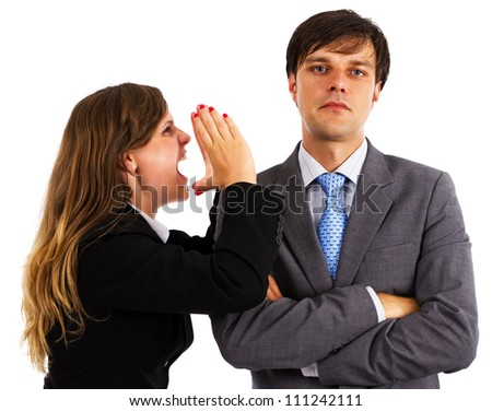 Two business colleagues having an argument over white background - stock photo