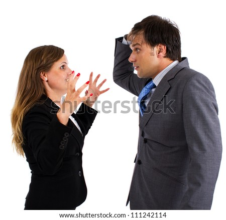 Two business colleagues having an argument over white background