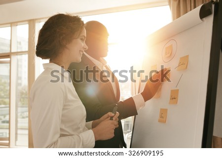 Two business colleagues working on project together. Business people putting their ideas on whiteboard during a presentation in conference room. - stock photo
