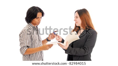 Two Business Individuals Making a Deal - stock photo