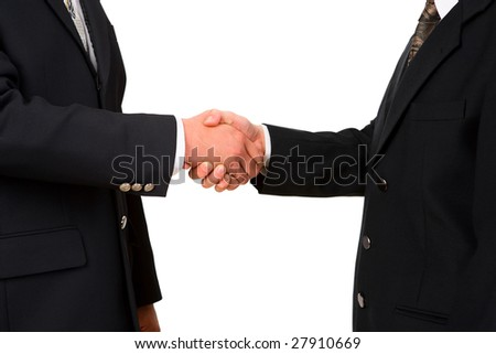 Two business leader shake hand against white background