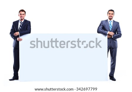 two business man showing blank signboard, isolated over white background - stock photo