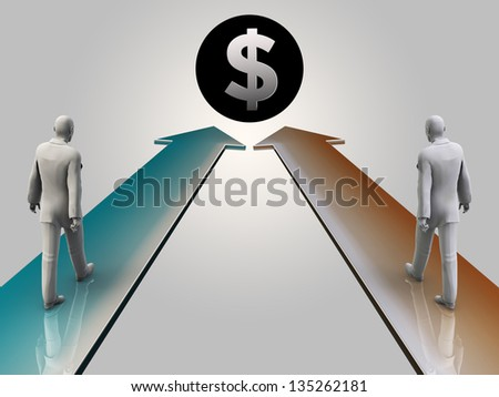 Two business man walking towards dollar sign, 3d render - stock photo