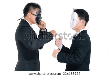 Two business man white masks and black masks isolated on white, fighting