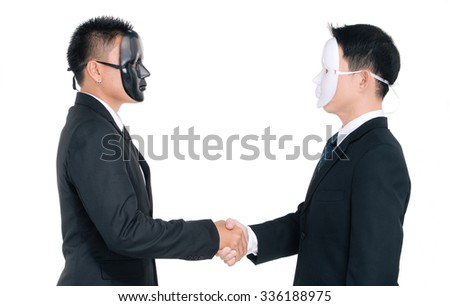 Two business man white masks and black masks isolated on white, handshaking  - stock photo