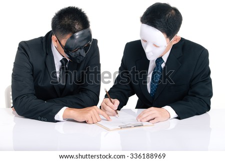 Two business man white masks and black masks isolated on white, sign contract - stock photo