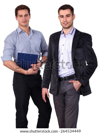 Two business men holding contract folder isolated on white background