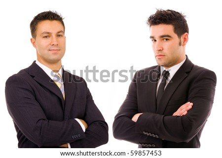 two business men portrait at the ofice, isolated on white - stock photo