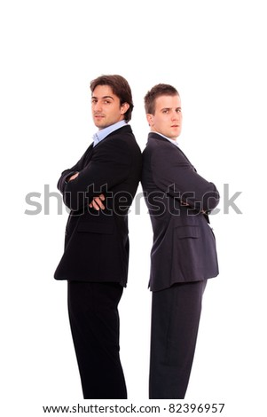 two business men portrait, isolated on white