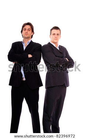 two business men portrait, isolated on white - stock photo